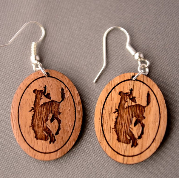 Pendleton Round-Up Wooden Oval Bucking Hose Earrings
