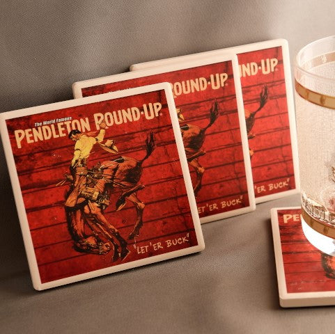 Pendleton Round-Up Barnwood Coaster Set