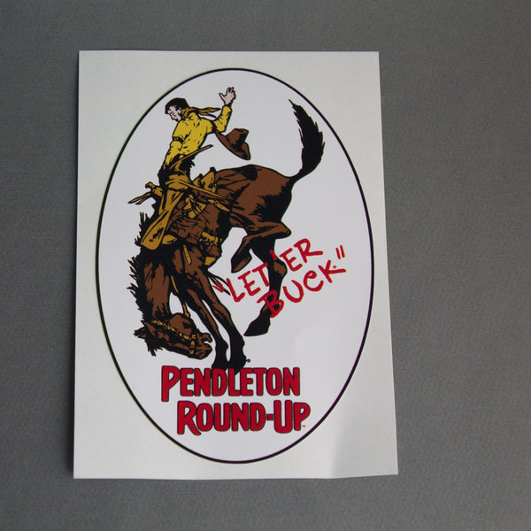 Oval Pendleton Round-Up Bucking Horse Vinyl Decal