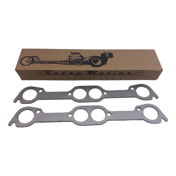 Graphite Pontiac V8 Round Port Exhaust Gasket Set - Gasket - RetroMotion Innovations - 2