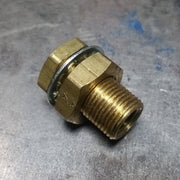 "Brass Bulkhead Fitting - 1/4"" Female NPT 3/4"" x 1.5"" Threads 1-1/2"" Overall Length"