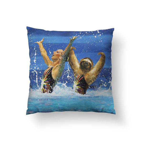 Synchronized Sloth Throw Pillow
