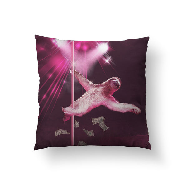 Stripper Sloth Throw Pillow