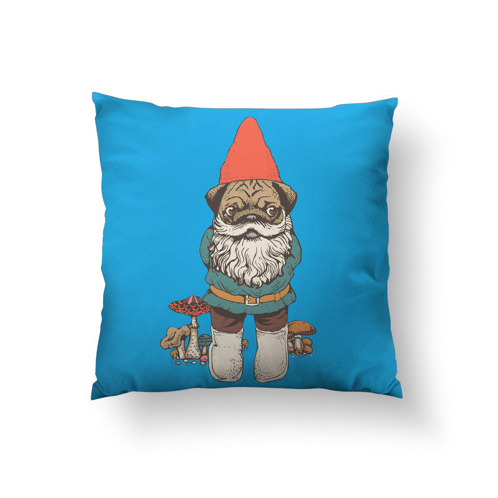 Pug Gnome Throw Pillow