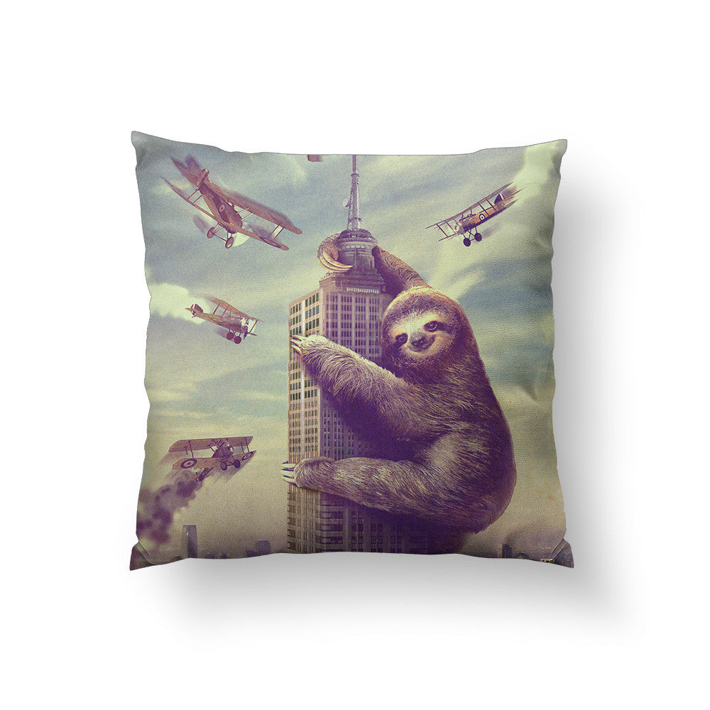 Slothzilla Throw Pillow