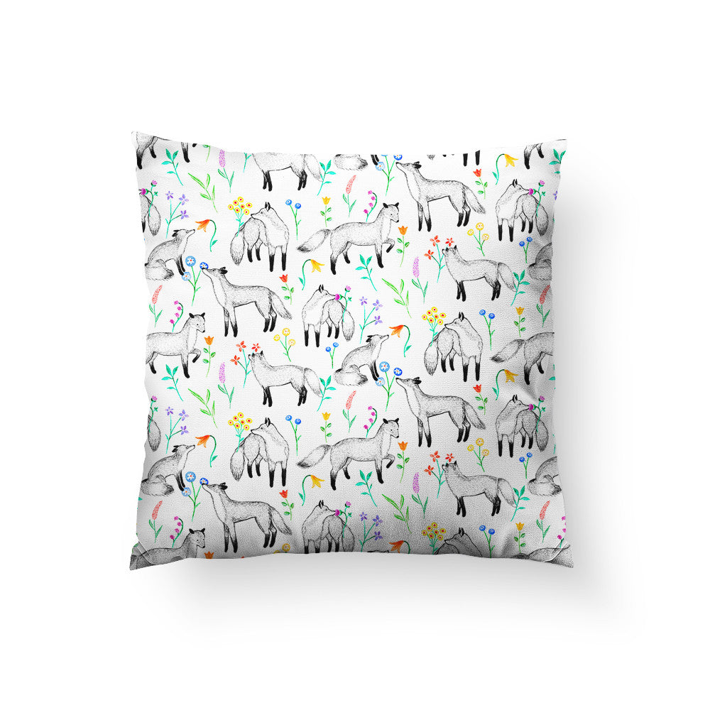 Floral Foxes Throw Pillow
