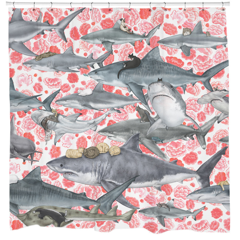 Hunters Cat And Shark Shower Curtain