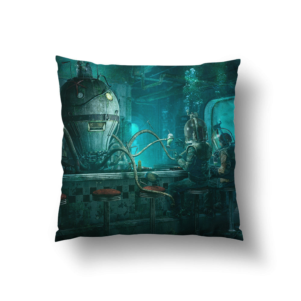 Octopus Diner Throw Pillow