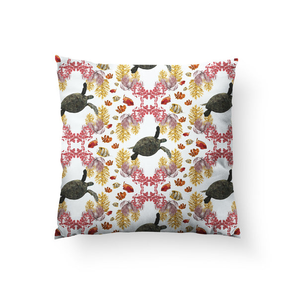 Coral Diamonds Throw Pillow