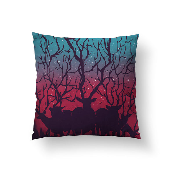 Deer Forest Throw Pillow
