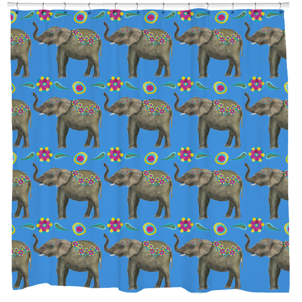 Floral Elephant Shower Curtain Sharp Shirter