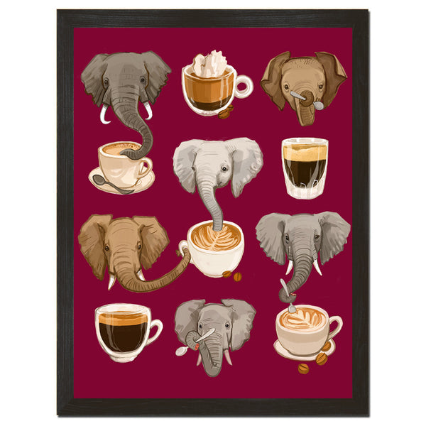 Elephants and Espresso Art Print