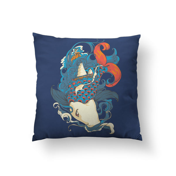 FIsh and Ships Throw Pillow