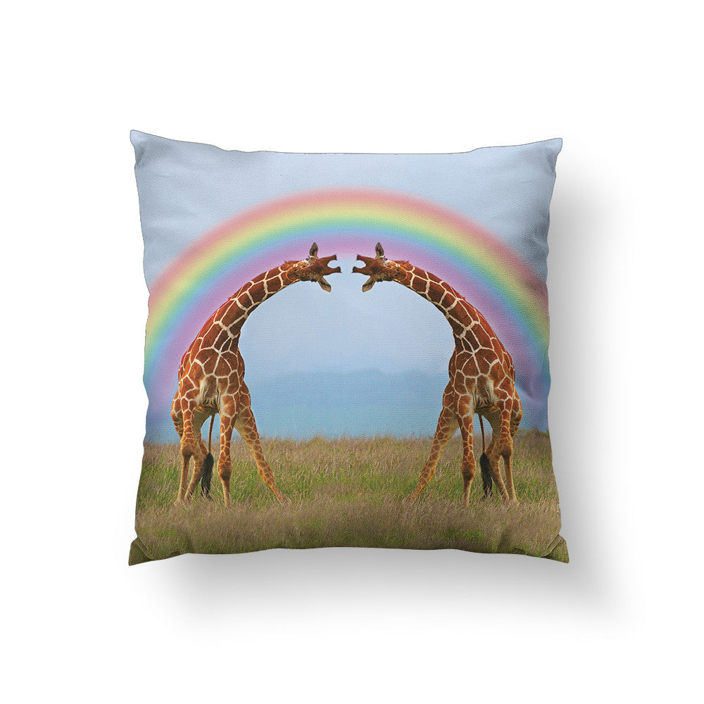 Giraffe Double Rainbow Throw Pillow