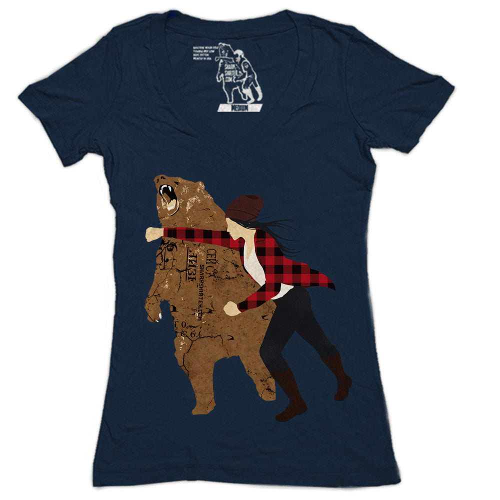 Girl Bear Punch Women's Graphic Tee Deep V-Neck