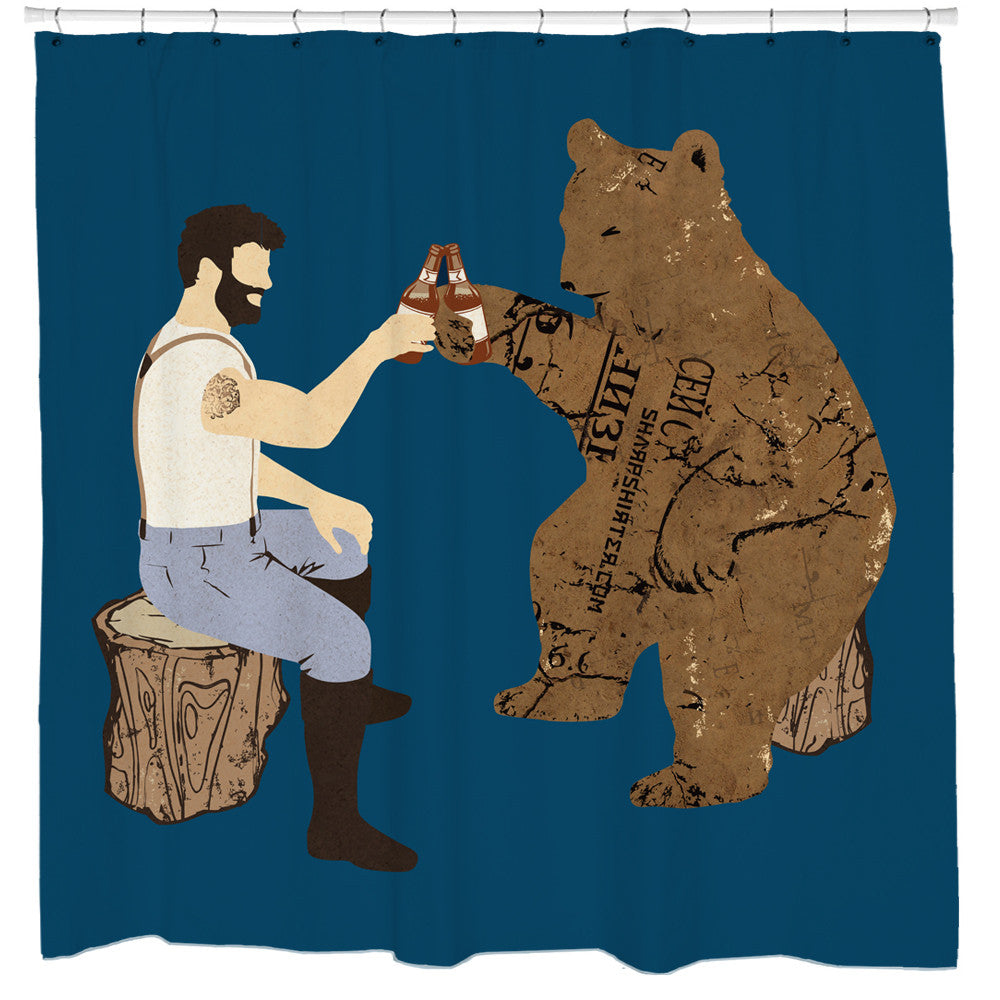 Having A Bear Beer Shower Curtain
