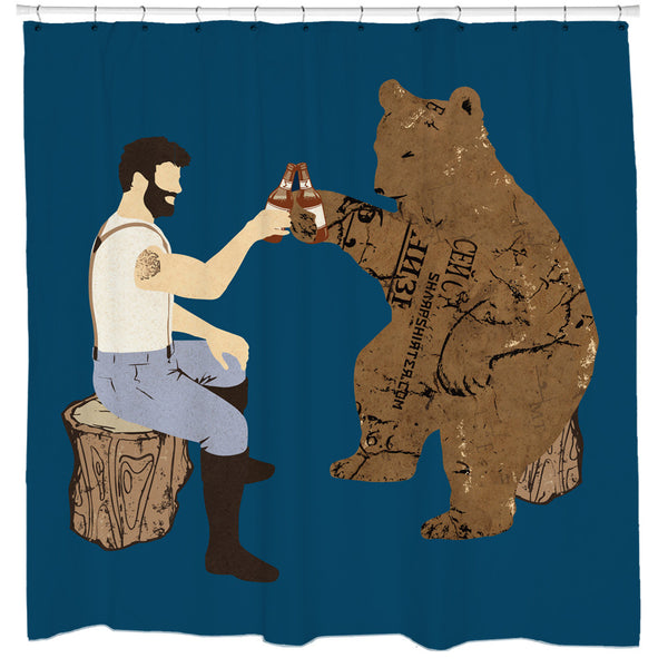 Having A Bear, Beer Shower Curtain