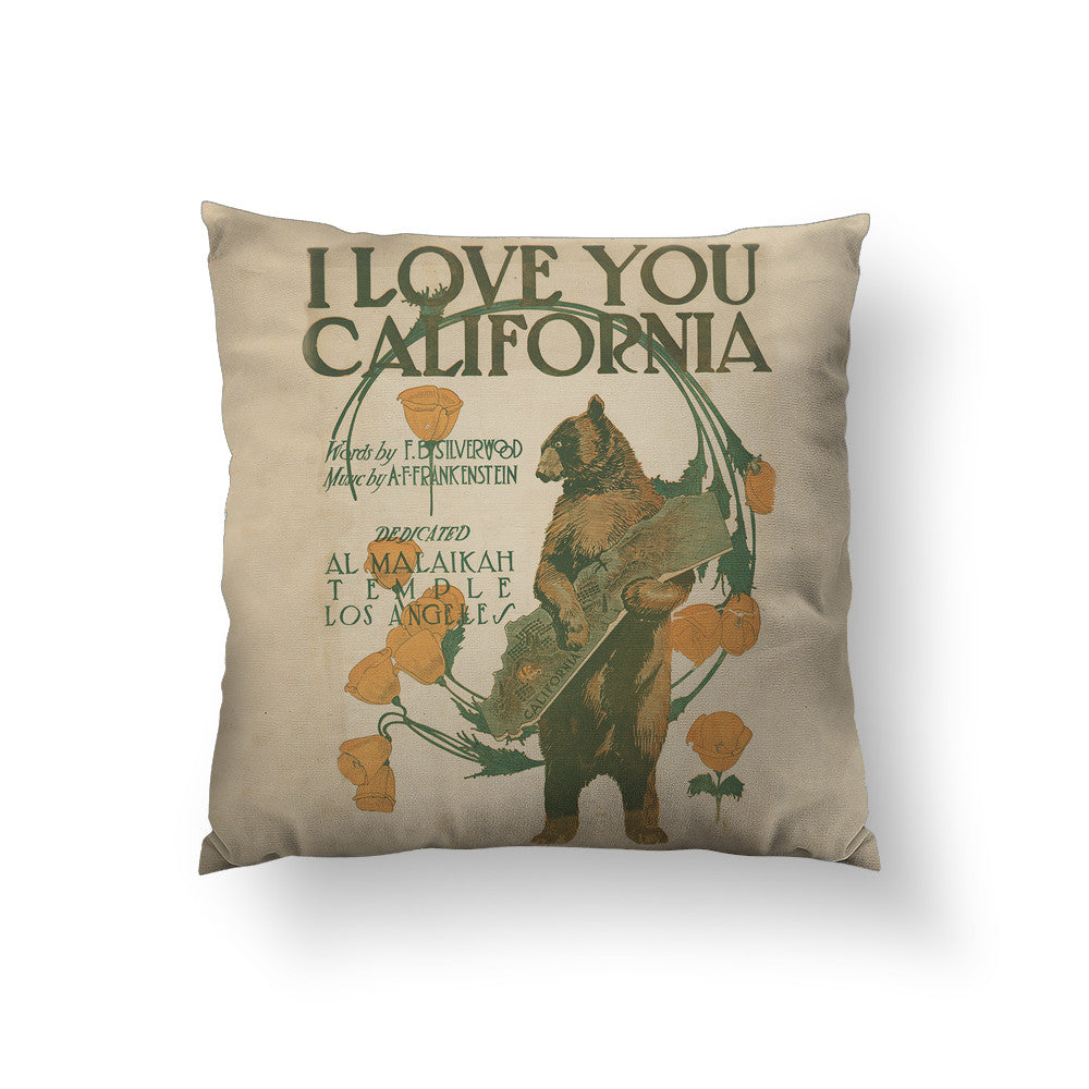 I Love You California Throw Pillow