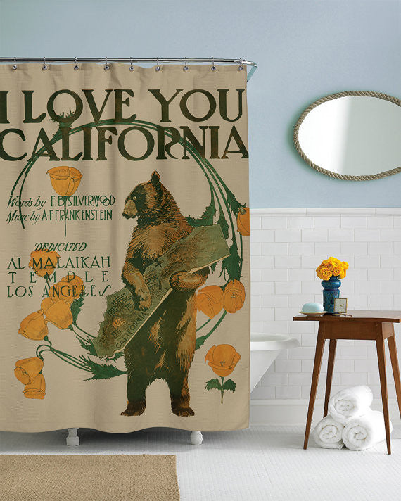 I Love You California, Bear Shower Curtain