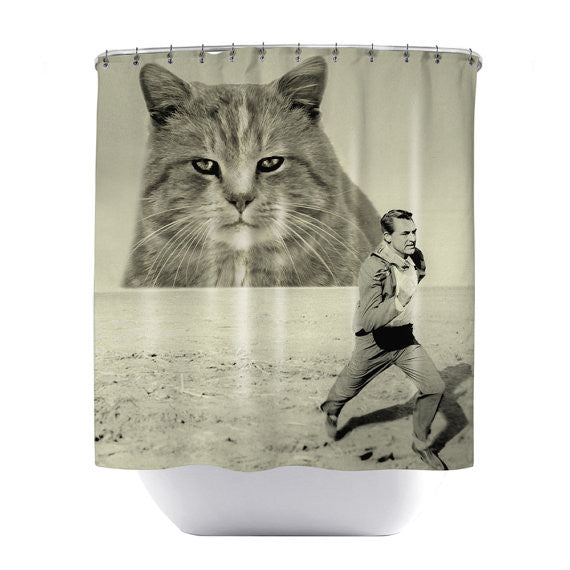 Attack of the Fifty-Foot Feline Shower Curtain