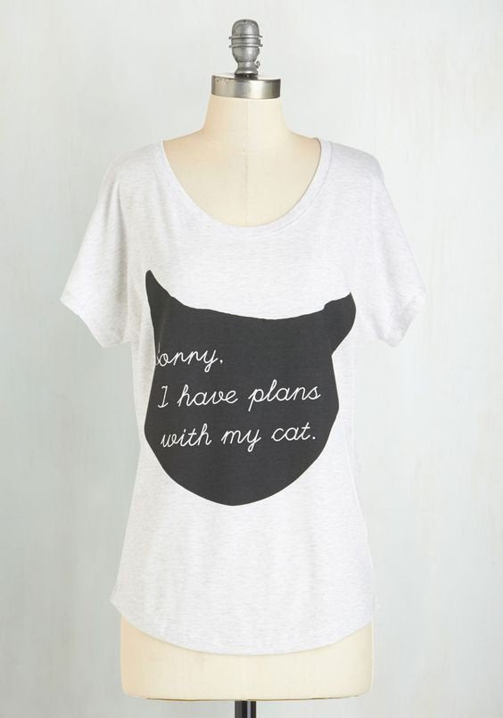 Cute Cat Shirt Women, Cat Quotes T Shirt, Funny Cat Tees, Plans With My Cat, Cat Lover Gifts, Loose Fit Dolman Cat Top Sizes, S - 2XL