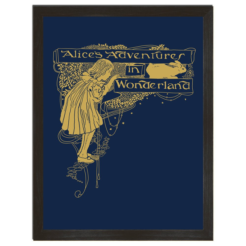 Alice Poster, Book Cover, Rabbit Art, Vintage Print, Wonderland, Vintage Art, Blue and Gold Print, Affordable Art, 8x10 or 18x24
