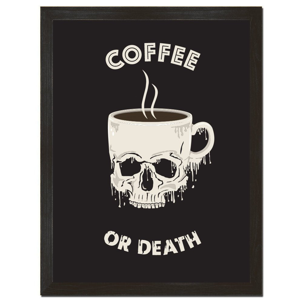 Coffee Poster, Skull Print, Funny Quote, Coffee Art, Inspirational Art, Skull Design, Retro Decor, Affordable Art, 8x10 or 18x24