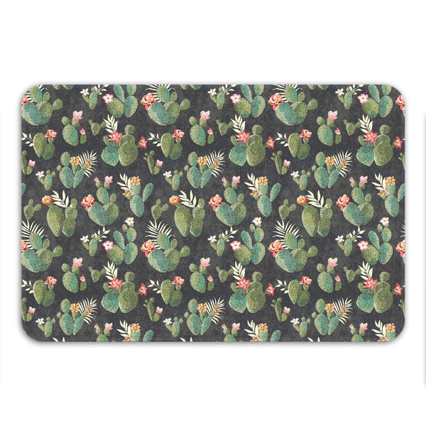 Cactus Bath Mat, Non Slip, Western Bathroom Decor, Cool Bath Mat, Boho Rug, Microfiber, Floral Pattern, Desert Theme Decor, Small or Large