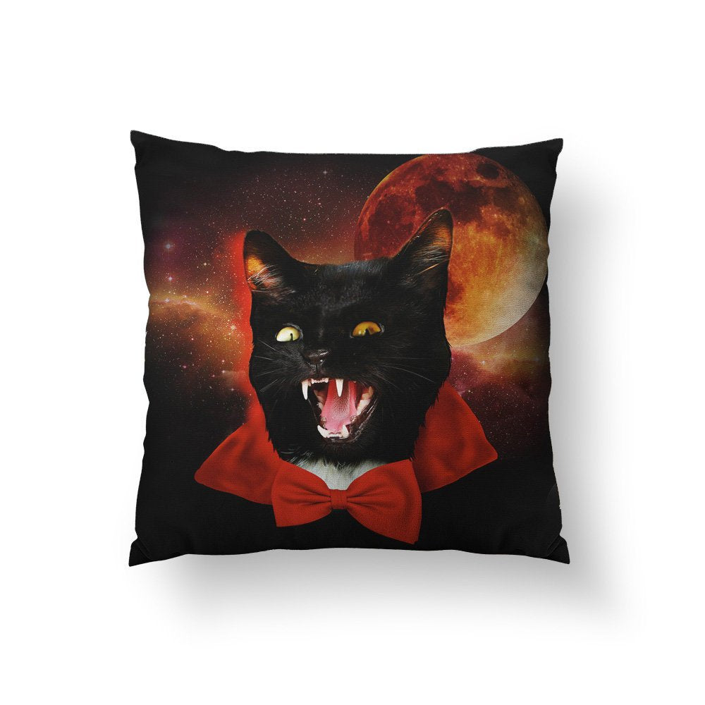 Halloween Pillows, Fun Halloween Decor, Funny Pillow, Cat Pillow, Dracula Pillow, Black Cat Art, Blood Moon, Spooky Home Decor, Catula