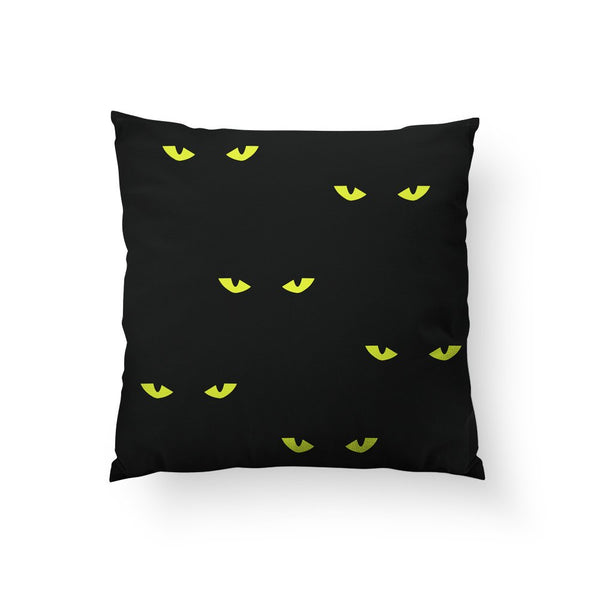 Halloween Home Decor, Spooky Cat Eyes, Black Cat Pillow, Cat Cushion, Scary Decor, Black Cat Decor, Cat Lover Gift, Halloween Decorations,