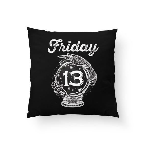 Halloween Throw Pillow, Spooky Home Decor, Friday the 13th, Halloween Decor, Crystal Ball, Fortune Teller, Stars, Black Pillowcase, Psychic