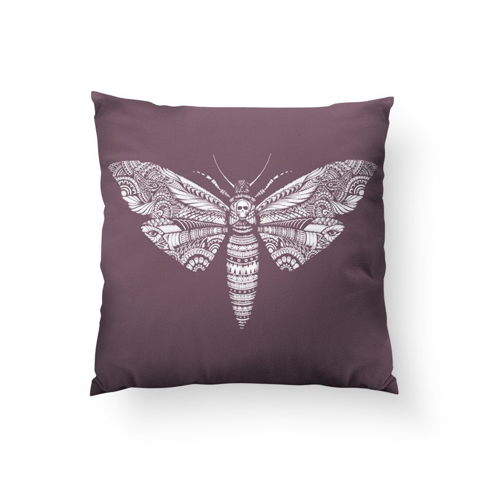 Halloween Pillow, Skull Decor, Halloween Theme, Moth Pillow, Scary Gift, Purple Throw Pillow, Butterfly Art, Spooky Gift, Insect Art
