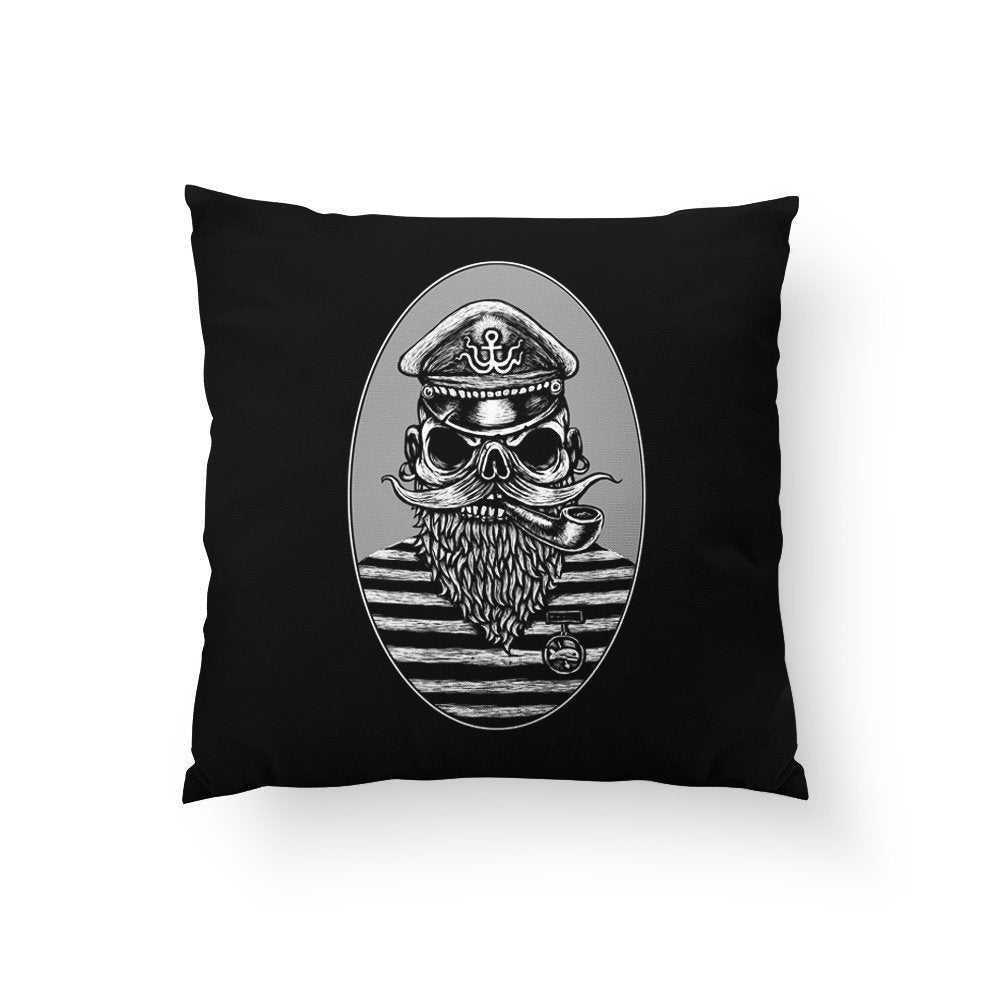 Pirate Skull Pillow, Halloween Home Decor, Sailor Skull, Black Skeleton Pillow, Spooky Home Decor, Skull Art, Anchor, pirates Caribbean