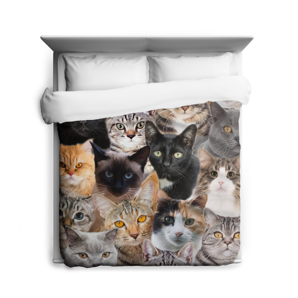Cat Duvet Cover, Cat Bedding, Cat Home Decor, Super Soft, Microfiber, Quirky Bedroom Decor, Cat Pattern, Animal Print, Printed USA