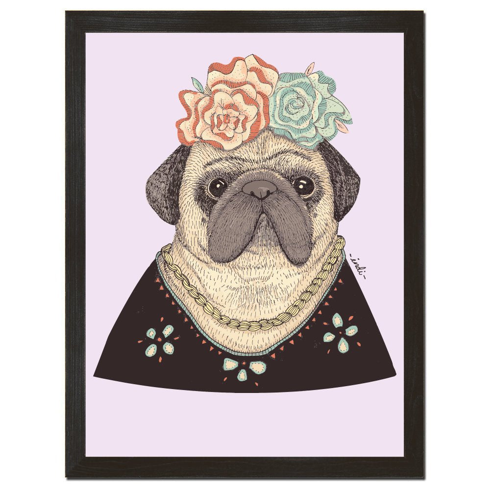 Frida Pug Poster, Mexican Art, Retro Decor, Dog Print, Fun Wall Art, Pug Art, Floral Pattern, Gift for Dog Lover, 8x10 or 18x24