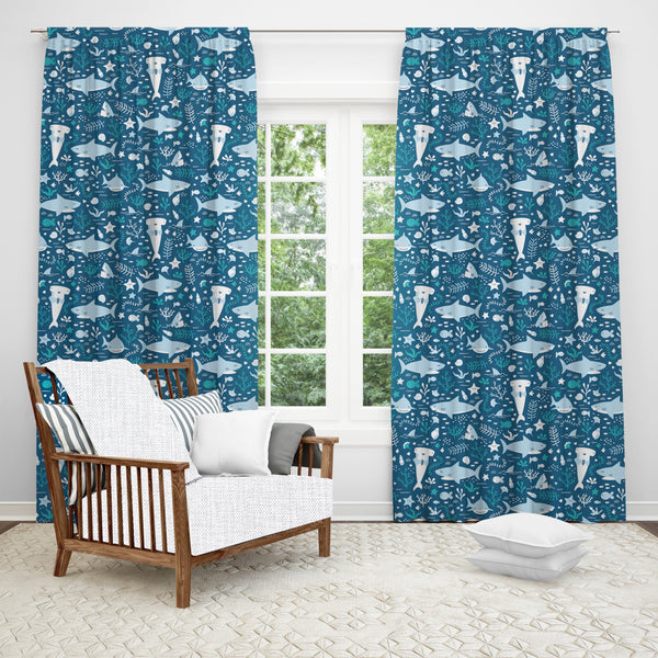 Shark Life Window Curtain