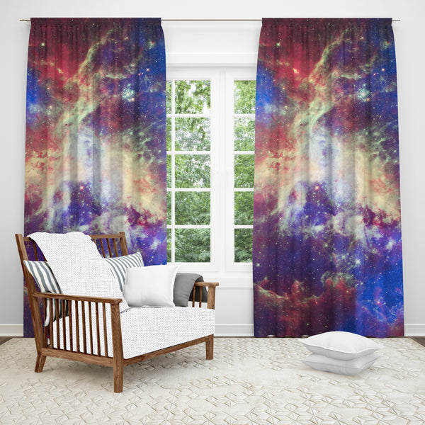Space Window Curtain, Space Decor, Galaxy Curtain, Space Pattern, Psychedelic Art, Nebula, Sheer or Black Out Fabric, Single or Double Panel