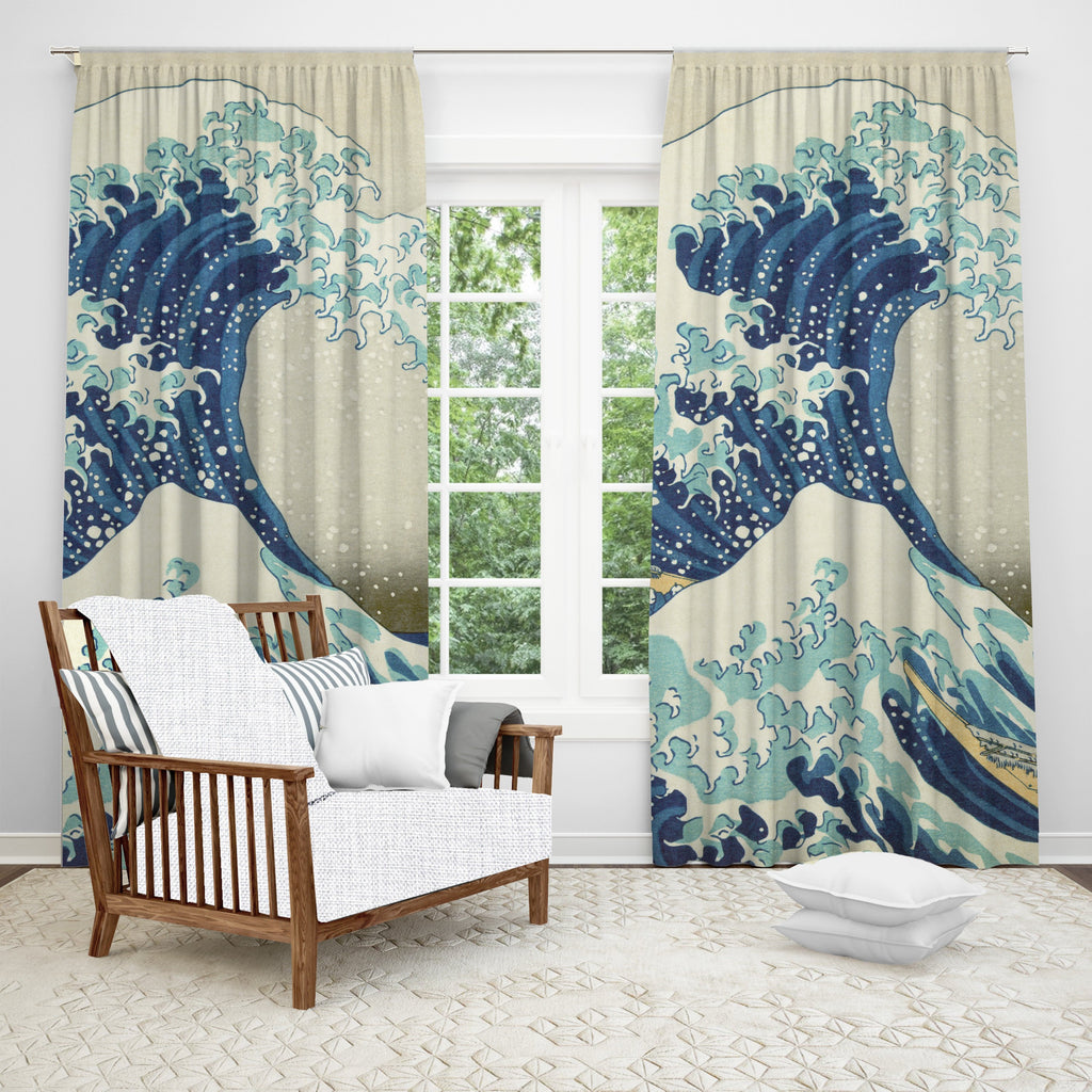 Great Wave Window Curtain, Nautical Home Decor, Japanese Ocean Art, Beach Theme Decor, Sea Waves, Kitchen Curtain, Classic Art, Single Panel