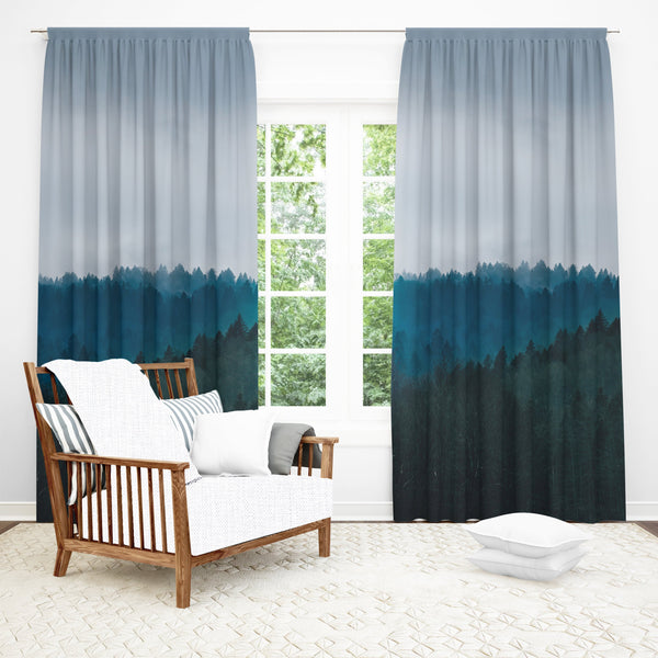 Tree Window Curtain, Nature Decor, Kitchen Curtains, Forest Curtain, Grey Fabric Curtain, Black Out or Sheer Fabric, Single or Double Panel