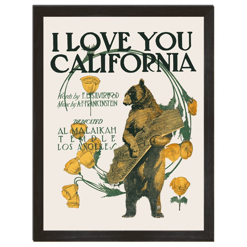 California Poster, Bear Print, Retro Decor, Floral Art, Music Poster, California Art, Cute Wall Art, Bear Art, Nature Print, 8x10, 18x24