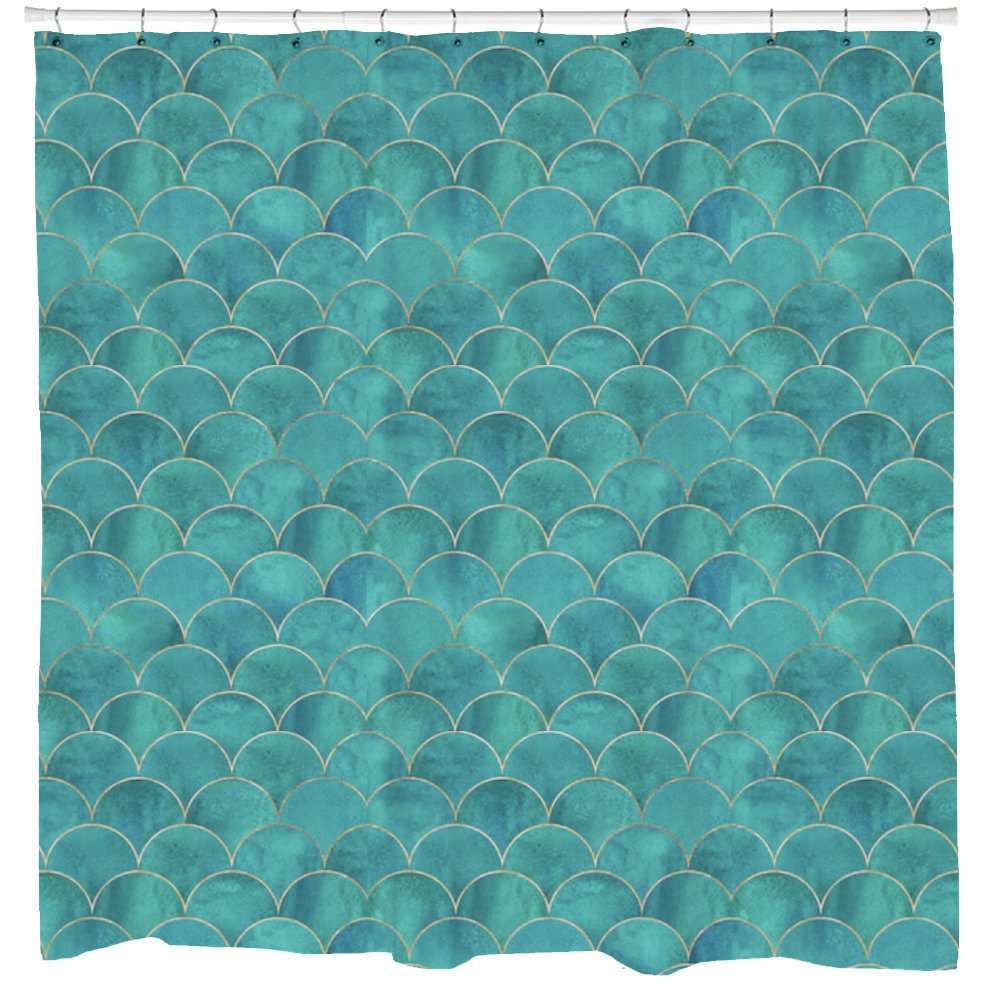 Mermaid Shower Curtain, Fish Scales, Teal & Gold Fabric, Mermaid Decor, Boho Curtain, Nautical Bathroom Decor, Beach Art, Printed in USA