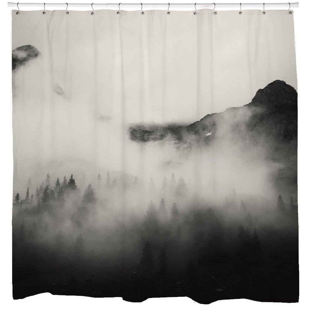 Trees Shower Curtain, Mountain Shower Curtain, Scenic Shower Curtain, Nature Shower Curtain,Black Bathroom Decor, Black White Bath Curtain