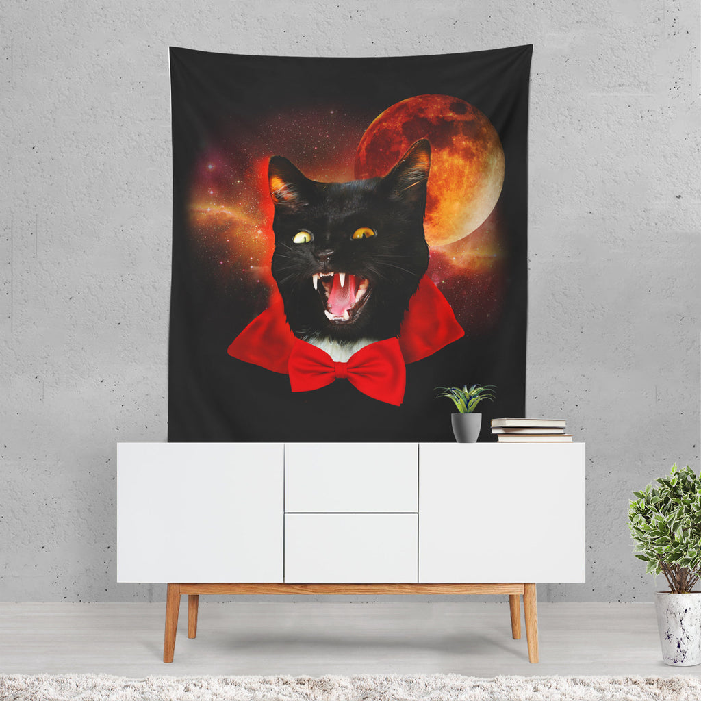 Halloween Backdrop, Cat Tapestry, Funny Wall Art, Dracula, Halloween Decor, Blood Moon, Spooky Decor, Gift for Halloween, Black Tapestry