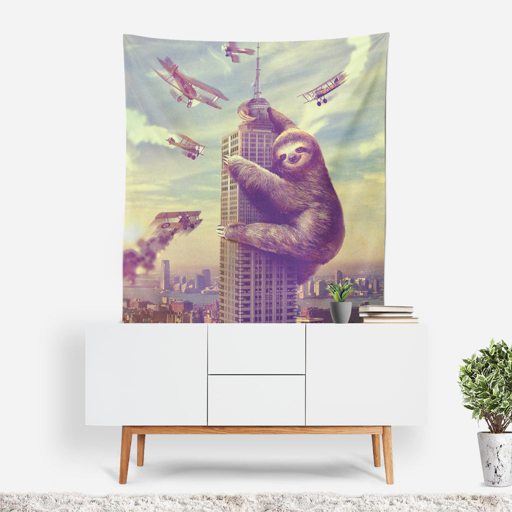 Sloth Wall Hanging, Sloth Tapestry, Funny Wall Art, King Kong Tapestry, Retro Decor, Movie Poster, Sloth Home Decor, Sloth Drape, Slothzilla