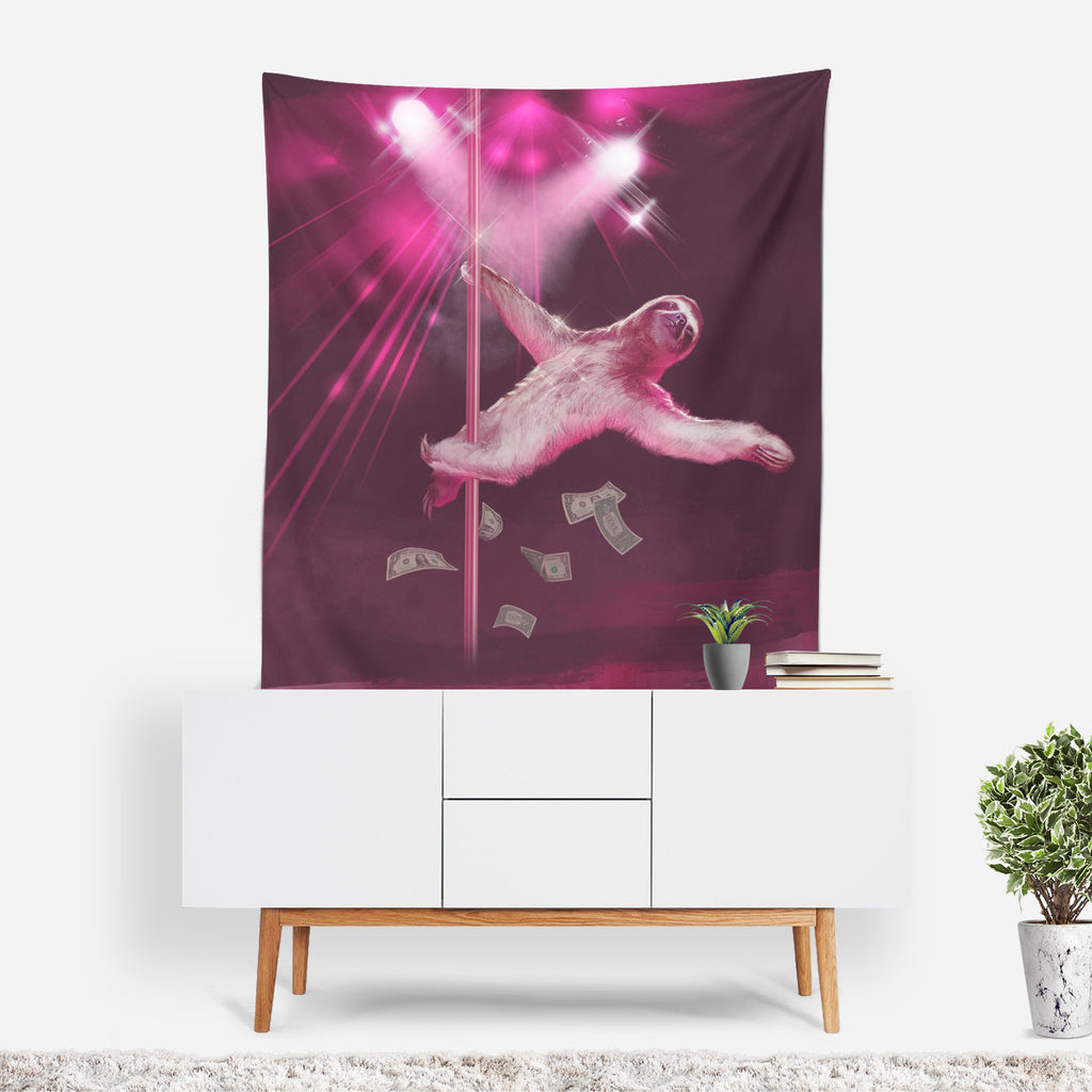 Sloth Tapestry, Stripper Sloth Wall Sheet, Sloth Home Decor, Funny Wall Tapestry, Funny Wall Drapes, Sloth Gifts, Quirky Decor