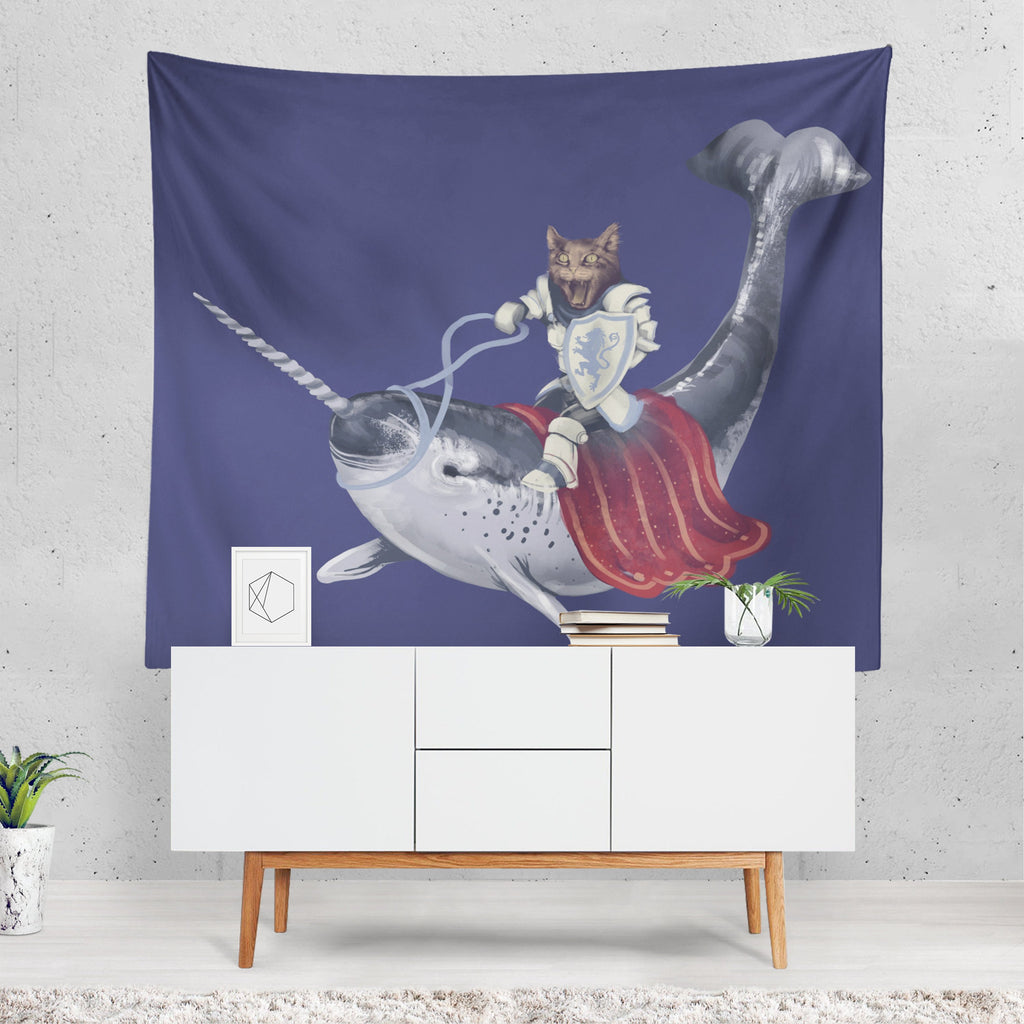 Cat Tapestry, Narwhal Wall Hanging, Medieval Decor, Cat Wall Art, Funny Decor, Nautical Decor, Quirky Wall Art, Blue Fabric, Unusual Gift