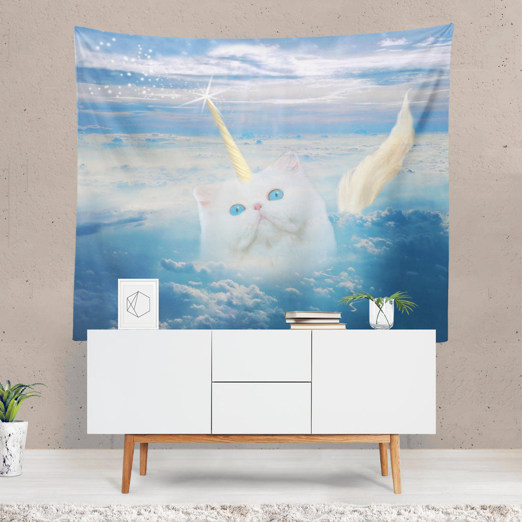Cat Tapestry, Unicorn Wall Hanging, Funny Decor, Cat Wall Art, Magic, Quirky Wall Art, Blue Fabric, Unusual Gift, Caticorn, Fantasy Art