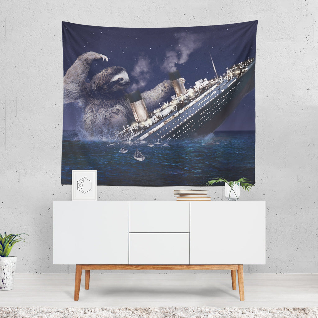 Sloth Tapestry, Titanic Wall Sheet, Sloth Home Decor, Funny Wall Tapestry, Sloth Gifts, Quirky Decor, 1950s Art, Blue Wall Art