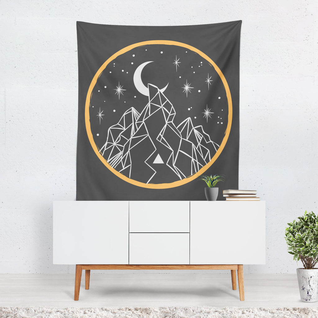 Halloween Wall Art, Mountain Tapestry, Moon Art, Halloween Decor, Witch Art, Gift for Halloween, Stars, Black Magic, Gold Circle