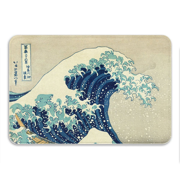Great Wave Bath Mat, Nautical Home Decor, Japanese Art, Beach Theme Decor, Waves Mat, Unusual Gift, Anti Slip, Wave Rug, Memory Foam